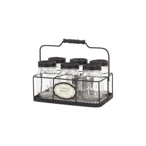 Home Decorators Collection Glass Canning Jars with Black Lids and Black Carrier... by Home Decorators Collection