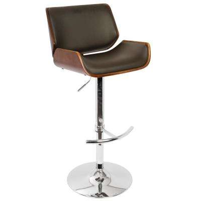 Santi 34.5 in. Adjustable Barstool in Cherry and Brown