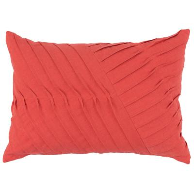 Blair Persimmon 14 in. x 20 in. Solid Rectangle Linen Pleated Decorative Pillow