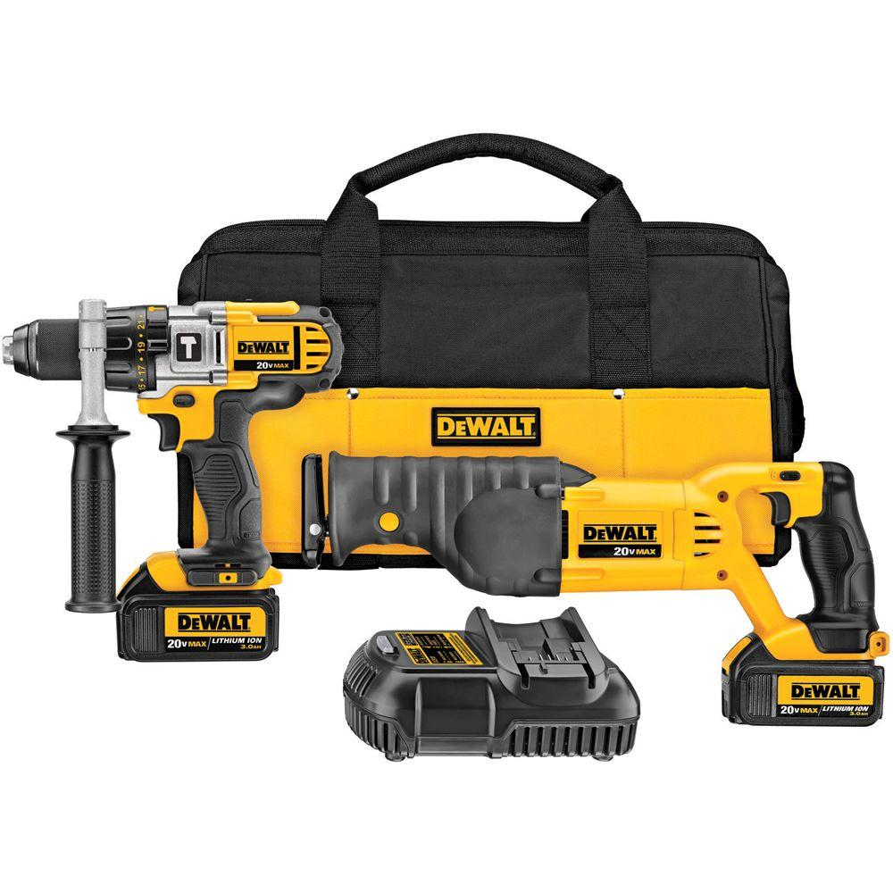 DEWALT 20-Volt MAX Lithium-Ion Cordless Hammer Drill/Reciprocating Saw Combo Kit (2-Tool) w/ (2) Batteries 3Ah, Charger and Bag