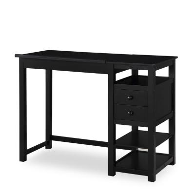 48 in. Rectangular Black 2 Drawer Writing Desk with Built-In Storage