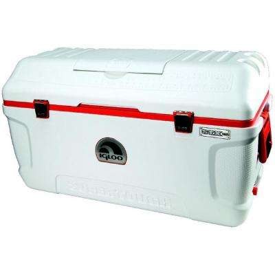 Supertough STX 165 Qt. Cooler with Built-In Cup Holder and Retractable Handles - White