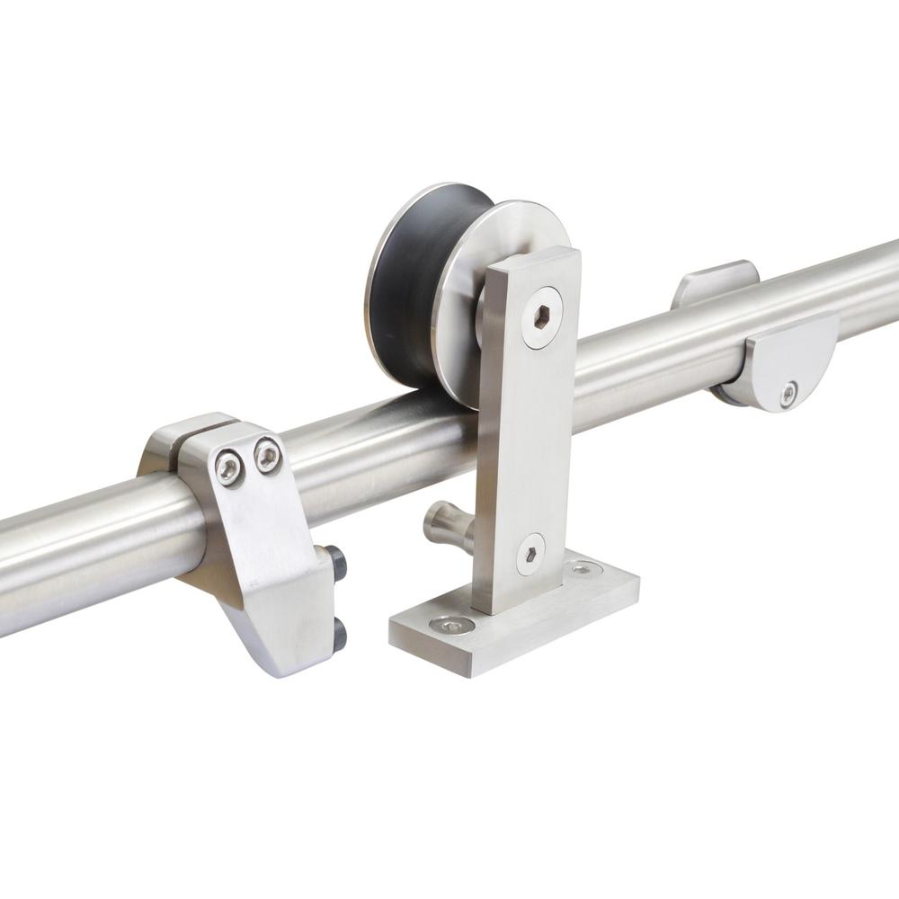 Calhome Top Mount 96 In Stainless Steel Barn Style Sliding Door Track And Hardware Set Sdh Wdn