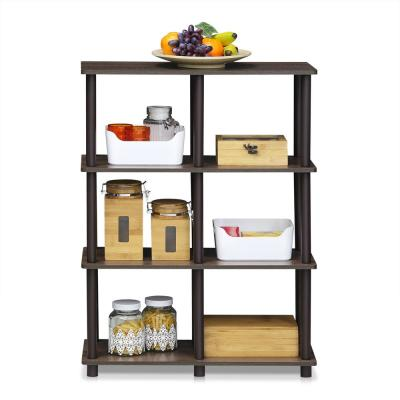 36.5 in. Walnut/Brown Plastic 4-shelf Etagere Bookcase with Open Back