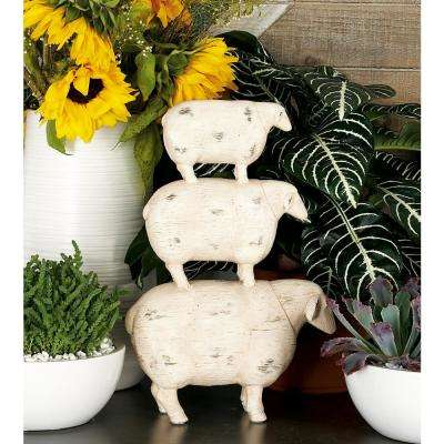 3-Stacked Sheeps Polystone Sculpture with Exposed Dark Brown Highlights