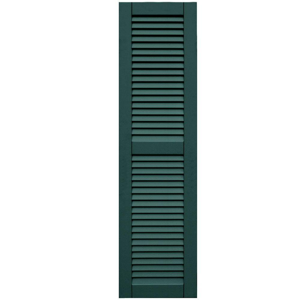 Winworks Wood Composite 15 in. x 57 in. Louvered Shutters Pair #633 Forest Green