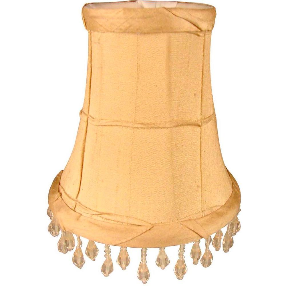 Finishing Touch Stretch Bell Sand Dupione Silk Chandelier Shade with Ruffles and Beads
