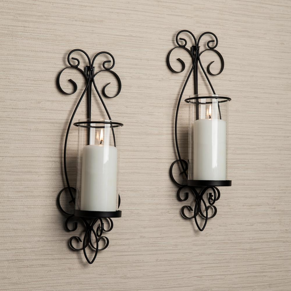 Danya b black metal frame pillar wall candle sconces with mirror san remo black candle wall sconce set of 2 amipublicfo Gallery
