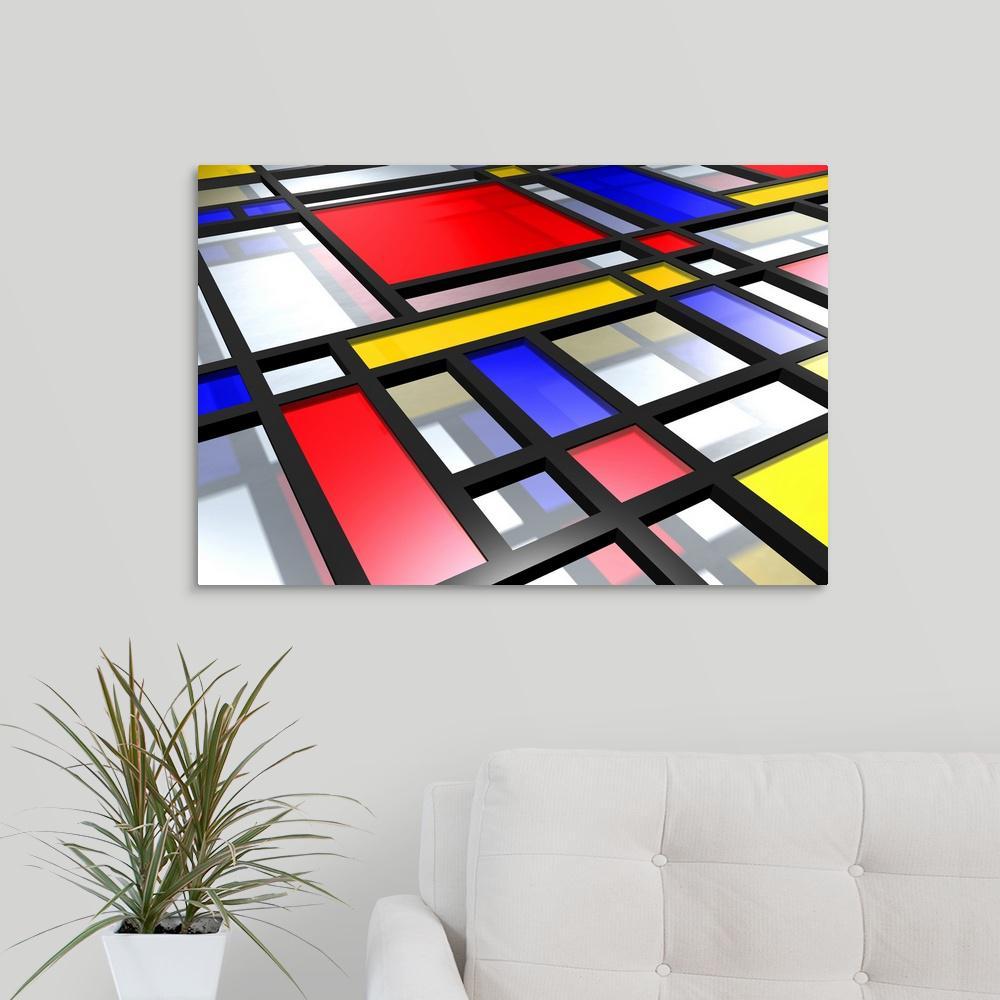 Greatbigcanvas Mondrian Inspired 3d By Michael Tompsett Canvas