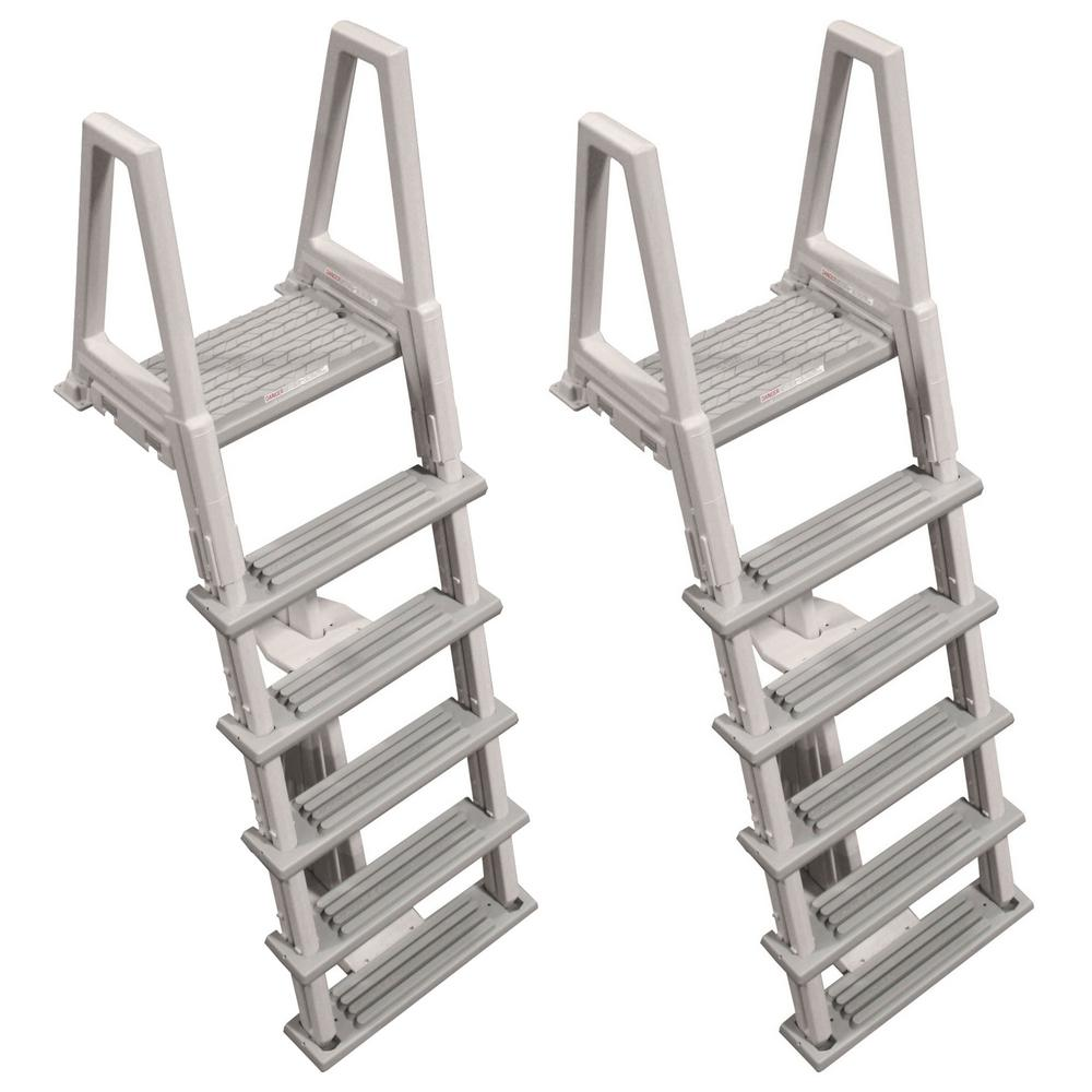 46 in. to 56 in. Heavy-Duty Ladder for Above-Ground Swimming Pool in Gray  (2-Pack)
