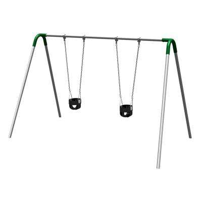 Single Bay Commercial Bipod Swing Set with Tot Seats and Green Yokes