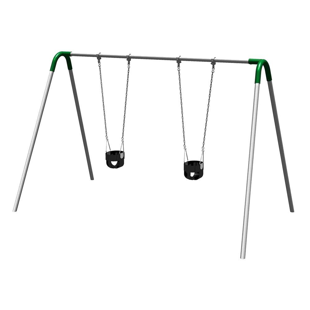 Single Bay Commercial Bipod Swing Set with Tot Seats and Green