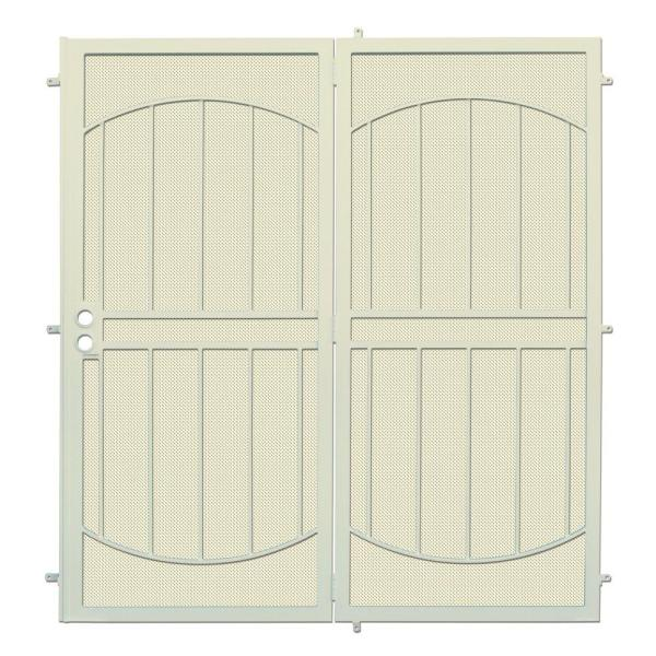 72 in. x 80 in. ArcadaMAX Navajo White Projection Mount Outswing Steel Patio Security Door with Perforated Metal Screen