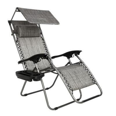 Steel Frame Zero Gravity Recliner Outdoor Lounge Chair with Shade Canopy and Cup Holder, Gray