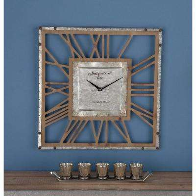 22 in. x 22 in. Rustic Square Wood and Iron Wall Clock