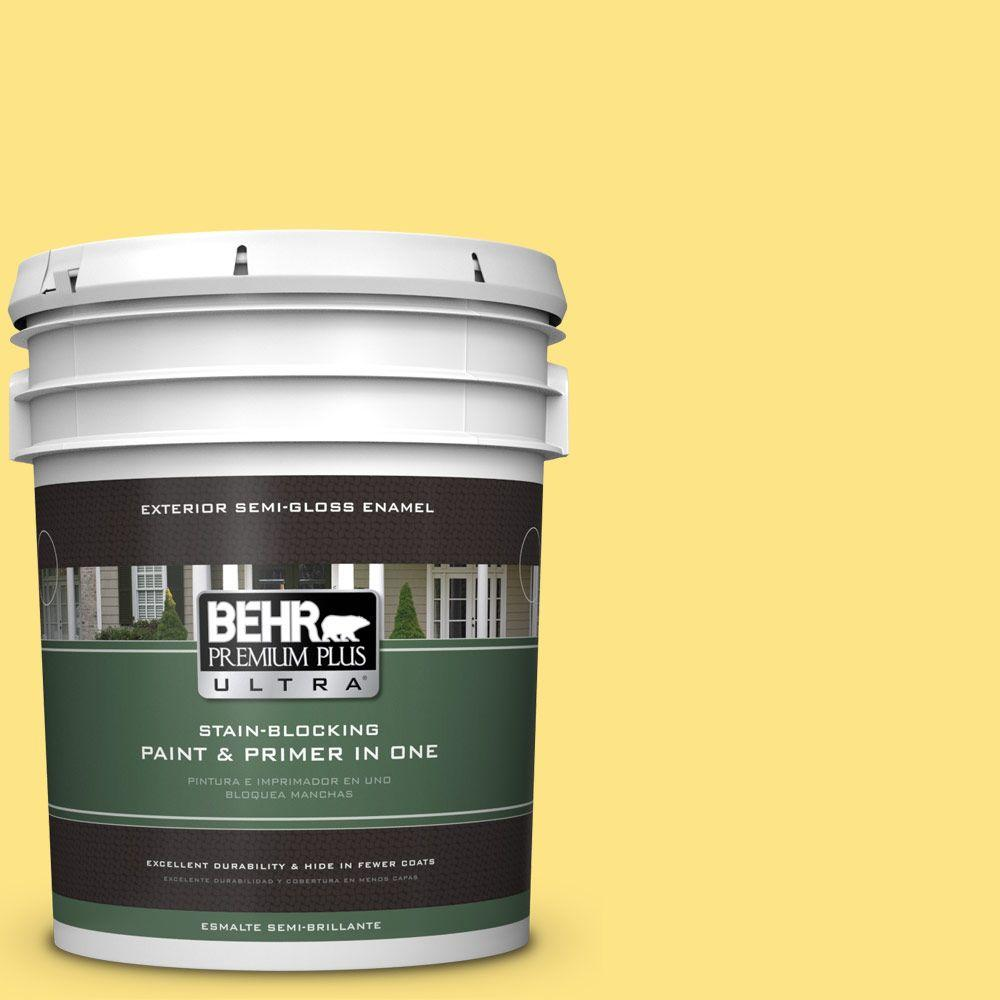 BEHR Premium Plus Ultra 5-gal. #380B-4 Daffodil Yellow Semi-Gloss Enamel Exterior Paint