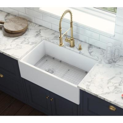 30 in. Single Bowl Farmhouse Fireclay Kitchen Sink with Left Offset Drain in White