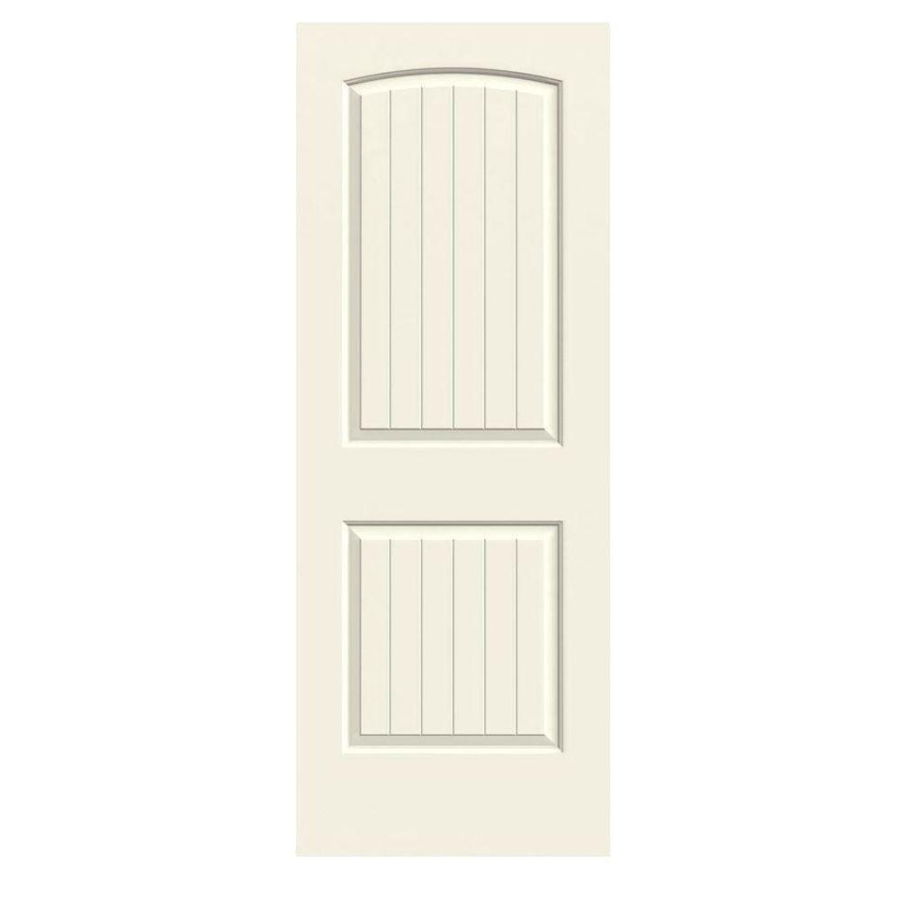 Jeld wen 24 in x 80 in santa fe vanilla painted smooth solid core molded composite mdf for Solid core interior doors soundproof