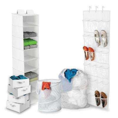 8-Piece Back-to-School Closet Storage and Laundry Kit in White