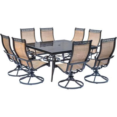 Monaco 9-Piece Aluminum Outdoor Dining Set with Square Glass-Top Table and Contoured Sling Swivel Chairs
