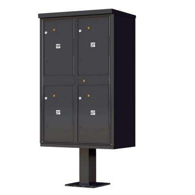 1590 Series 4-Parcel Lockers on Pedestal Valiant Outdoor Parcel Locker