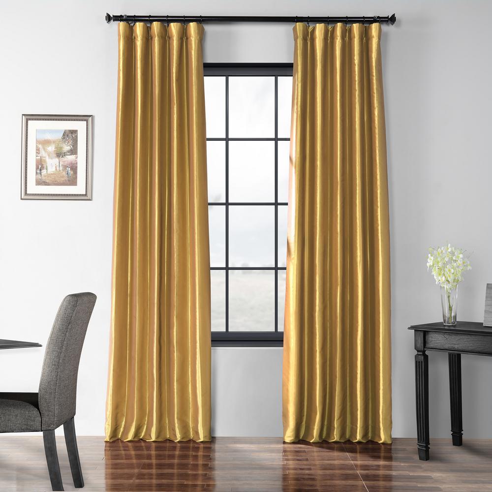 Golden Spice Blackout Faux Silk Taffeta Curtain - 50 in. W x 120 in. L
