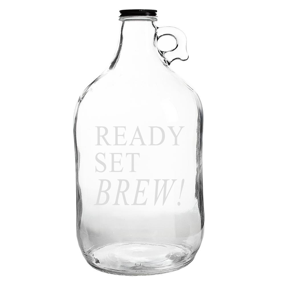 Ready Set Brew 64 oz. Clear Glass Growler