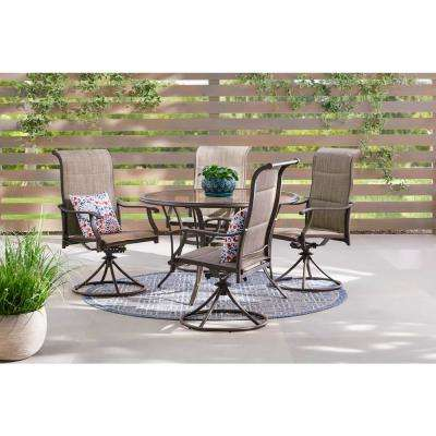 Riverbrook Espresso Brown 5-Piece Steel Outdoor Patio Padded Swivel Sling Round Glass Top Outdoor Dining Set