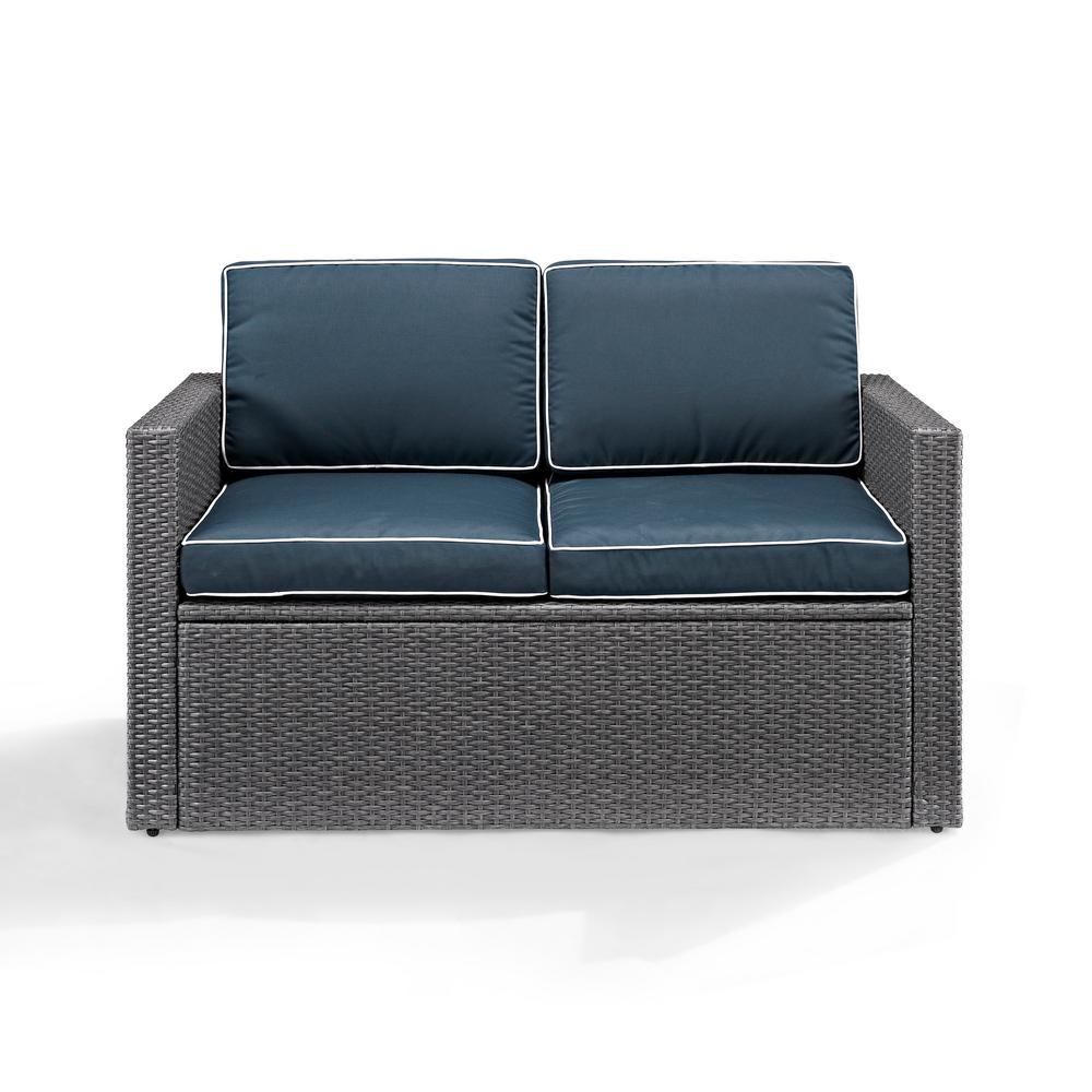 Crosley Palm Harbor Wicker Outdoor Loveseat With Navy