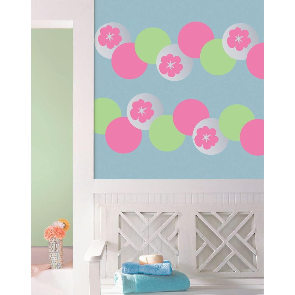 13 in. x 13 in. Pink Flirt Dot 10-Piece Wall Decal