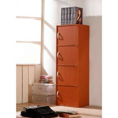 4-Shelf, 47 in. H Cherry Bookcase with Doors
