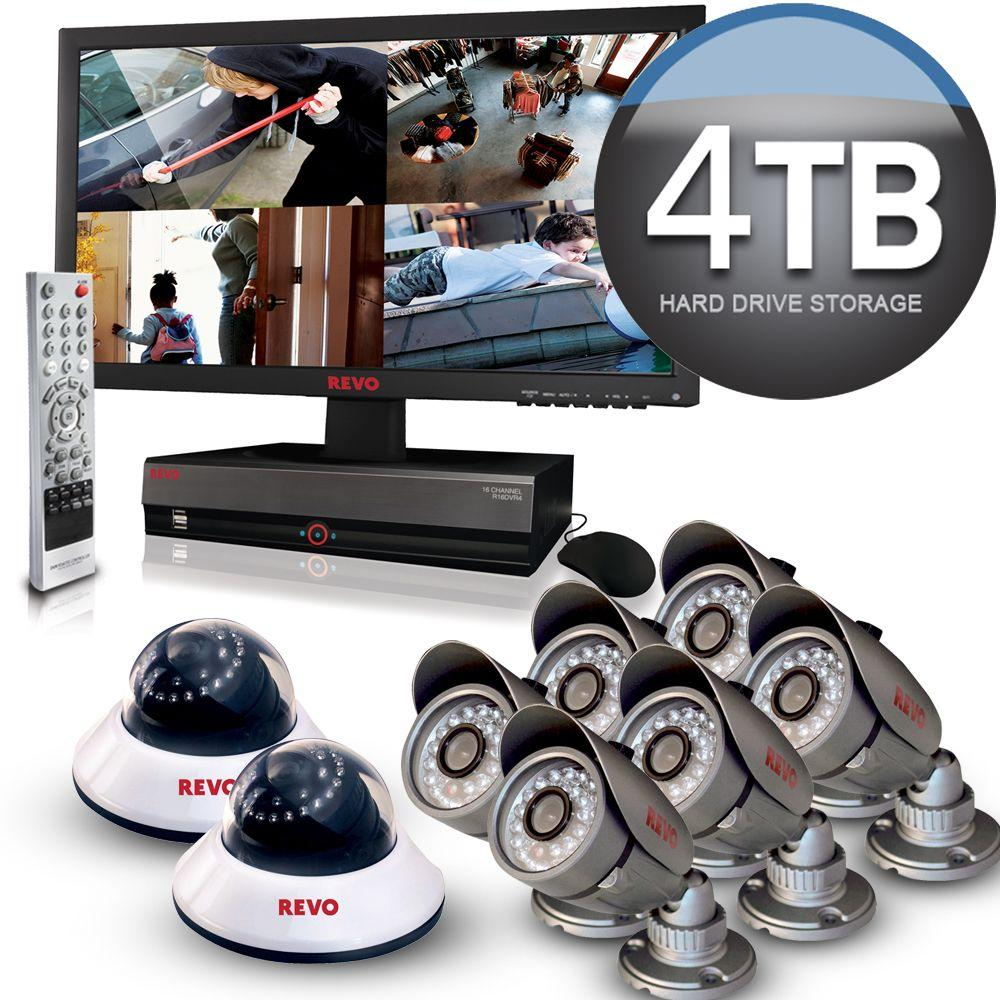Revo 16 CH 4TB HDD Video Indoor/Outdoor Surveillance System with 23 in. LED Monitor-DISCONTINUED