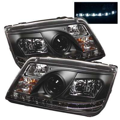 Volkswagen Jetta 99-05 Projector Headlights (Doesn't fit the Jetta 2.5) - DRL - Black - High H1 - Low H1
