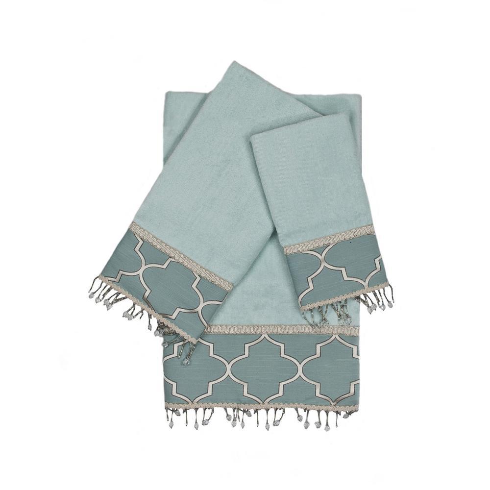 Stanton Beads Aqua Decorative Embellished Towel Set (3-Piece)