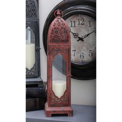 Moroccan Candle Lantern in Distressed Red Metal