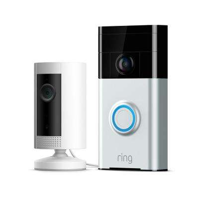 720P Wi-Fi Video Wired and Wireless Smart Door Bell Camera with Indoor Standard Security Camera in White
