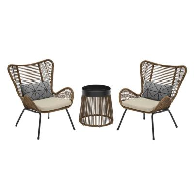 Clover Brook 3-Piece Wicker Outdoor Patio Conversation Seating Set with Beige Cushions