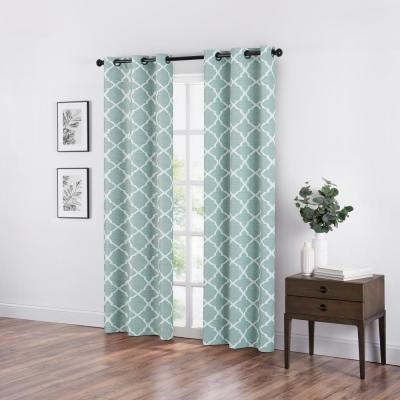 Fret Blackout Window Curtain in Color Spa - 42 in. W x 84 in. L