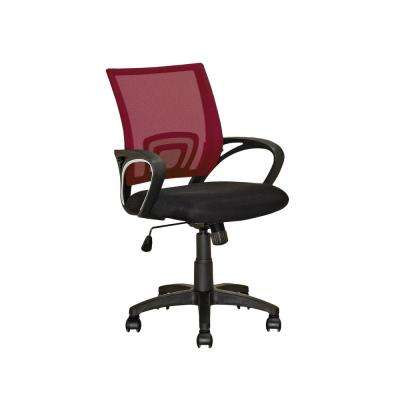 Workspace Black and Maroon Mesh Back Office Chair
