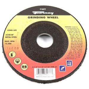 Forney 4-1/2 inch x 1/4 inch x 7/8 inch Metal Type 27 A24R-BF Grinding Wheel by Forney