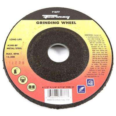 4-1/2 in. x 1/4 in. x 7/8 in. Metal Type 27 A24R-BF Grinding Wheel