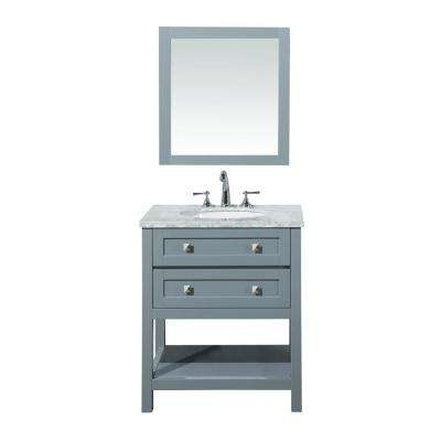 Marla 30 in. W x 22 in. D Vanity in Grey with Marble Vanity Top in Carrara White with White Basin and Mirror