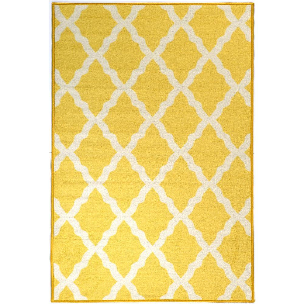 Pink Collection Contemporary Moroccan Trellis Design Yellow 3 ft. 3 in.