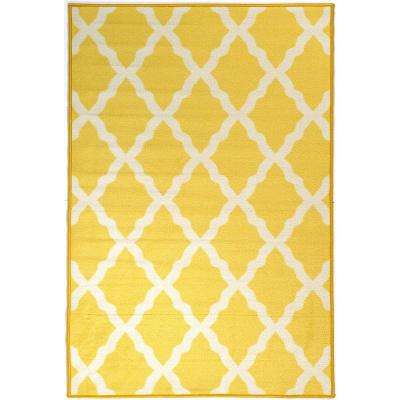 Pink Collection Contemporary Moroccan Trellis Design Yellow 3 Ft X 5 Kids Area