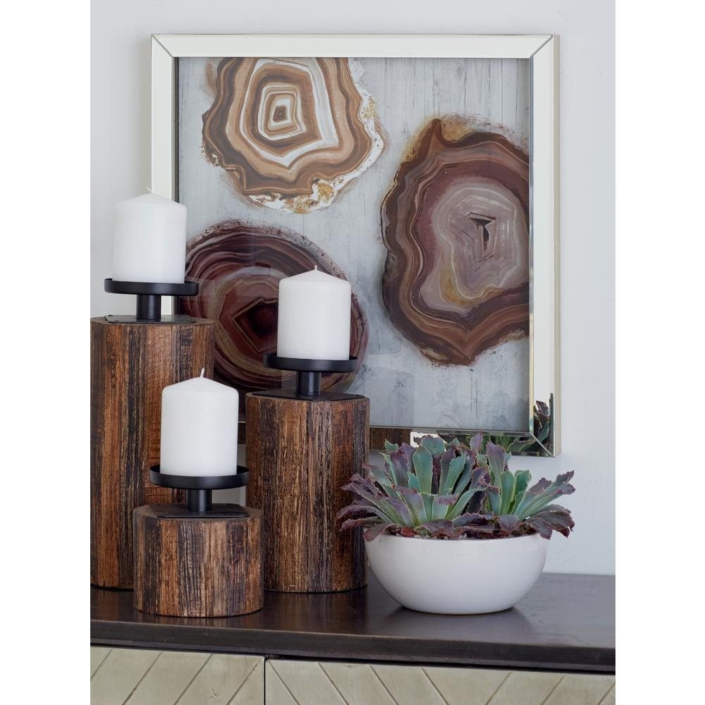 Litton lane multi colored polystone and wood framed agate stones wall decor set of