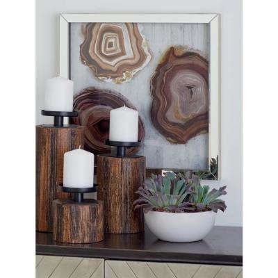 Multi-Colored Polystone and Wood Framed Agate Stones Wall Decor (Set of 3)