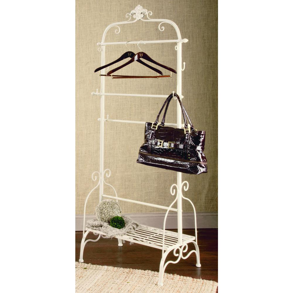 Tripar International 32 in. W x 71 in. H Cream Metal Garment Rack/Portable Wardrobe, Beige/Ivory Hang your favorite scarves, blankets and clothing with our Floor Rack. This rack offers a cream finish with brown accents. The base features a convenient shelf. Color: Beige / Cream.