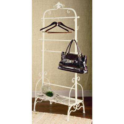 32 in. W x 71 in. H Cream Metal Garment Rack/Portable Wardrobe