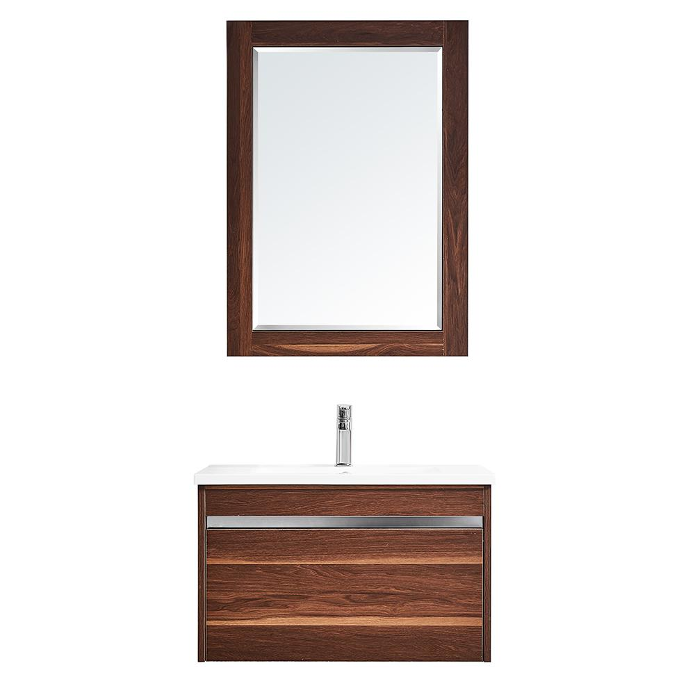 ROSWELL Thomas 30 in. W x 18 in. D Bath Vanity in Walnut with Quartz Vanity Top in White with White Basin and Mirror