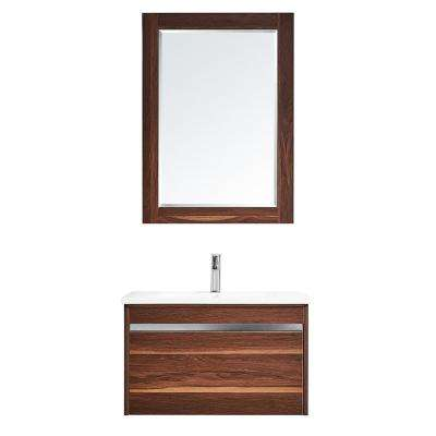 Thomas 30 in. W x 18 in. D Bath Vanity in Walnut with Quartz Vanity Top in White with White Basin and Mirror